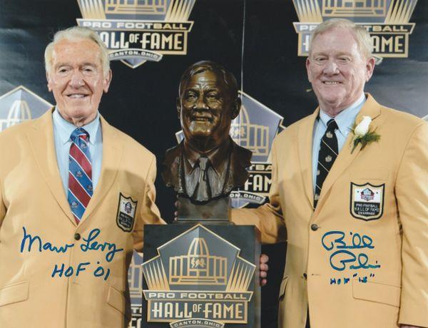 Marv Levy and Bill Polian autograph 8x10, Buffalo Bills, HOF Inscriptions