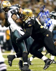 Hollis Thomas autograph 8x10, New Orleans Saints, Who Dat