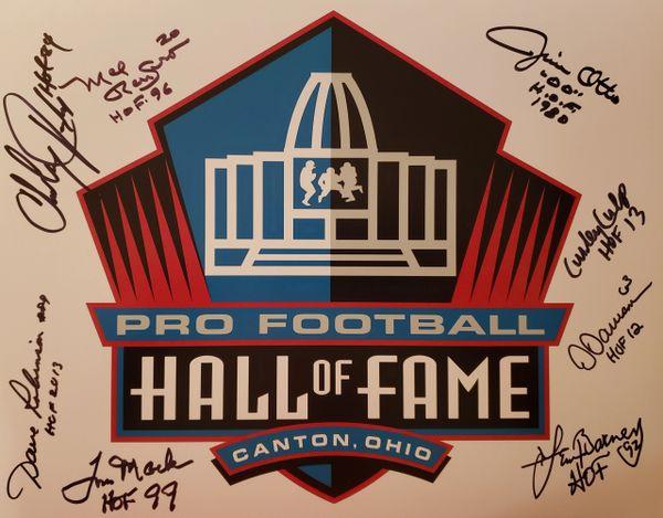 C. Taylor/Renfro/D. Robinson/Mack/Otto/Culp/Dawson/Barney autograph HOF 11x14, HOF inscriptions, 8 HOFers