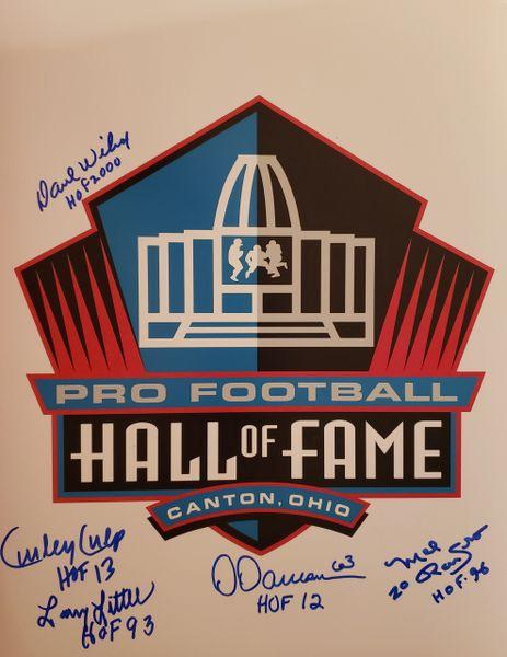 D. Wilcox/L. Little/Dawson/Culp/Renfro autograph 11x14, HOF inscriptions, 5 HOFers