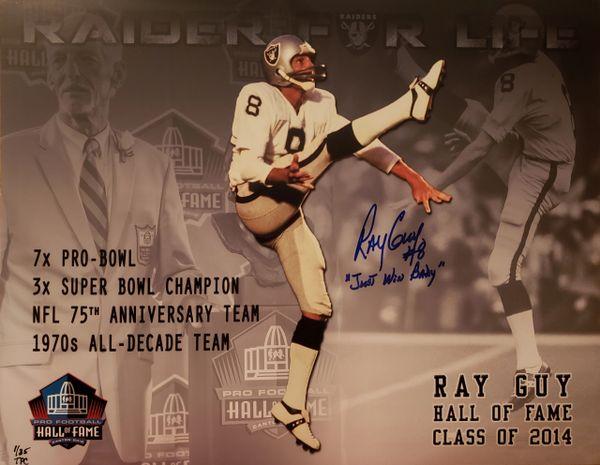 "Ray Guy autograph custom 11x14, Oakland Raiders, ""Just Win Baby"""