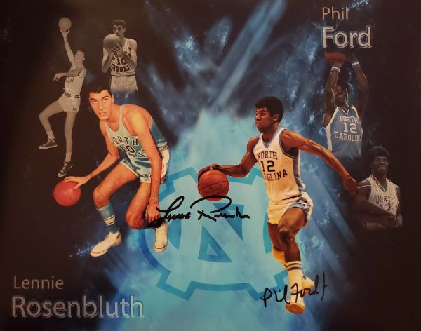 Phil Ford & Lennie Rosenbluth autograph 11x14, UNC Tar Heels