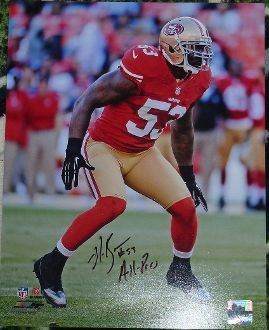 NaVorro Bowman autograph 11x14, San Francisco 49ers, w/inscrip