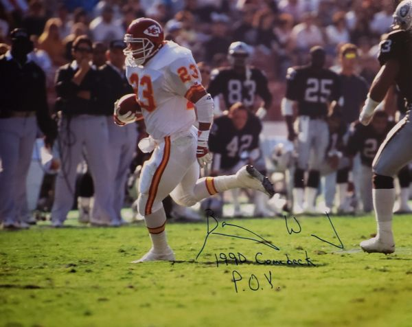 Barry Word autograph 16x20, Kansas City Chiefs, 1990 Comeback POY