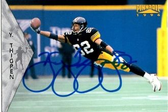 Yancey Thigpen autograph 1996 Pinnacle Card #75 Steelers