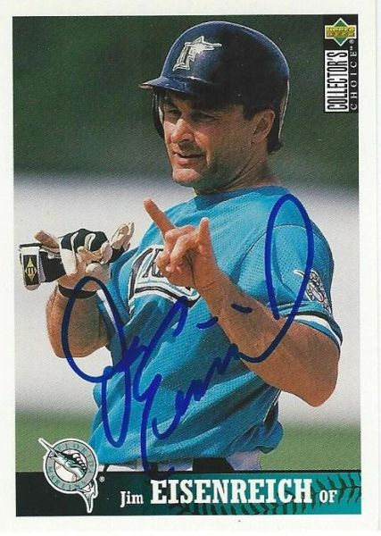 Jim Eisenreich autograph 1997 UD Choice Card #342 Marlins