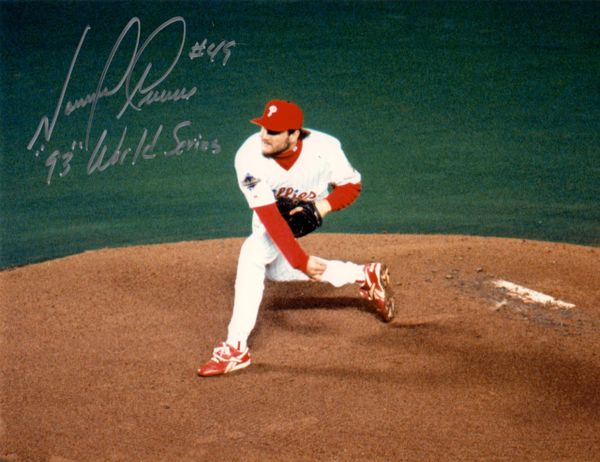 Tommy Greene autograph 8x10, Philadelphia Phillies, 93 WS inscri