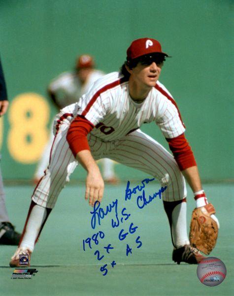 Larry Bowa autograph 8x10, Philadelphia Phillies, 3 inscriptions