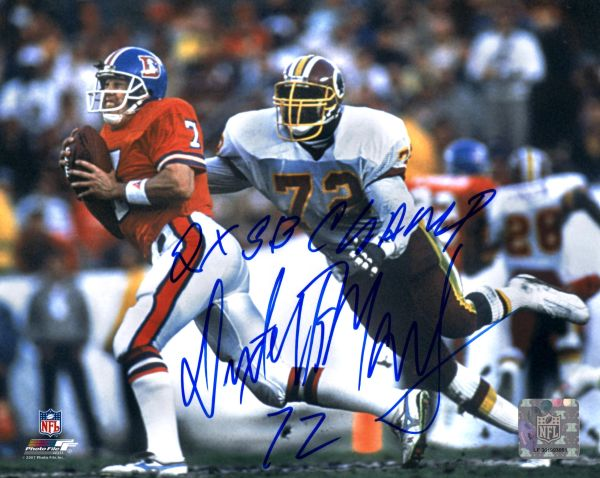 Dexter Manley autograph 8x10, Washington Redskins, 2x SB Champs