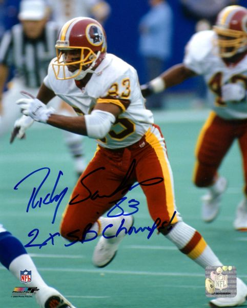 Ricky Sanders autograph 8x10, Washington Redskins, 2x Super Bowl