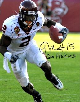 Josh Morgan autographed 8x10, Virginia Tech, Go Hokies