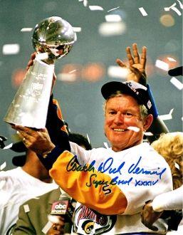 Dick Vermeil autographed 8x10, St Louis Rams, Super Bowl XXXIV