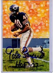 Gayle Sayers autograph Goaline Art Card, Chicago Bears, w/inscri