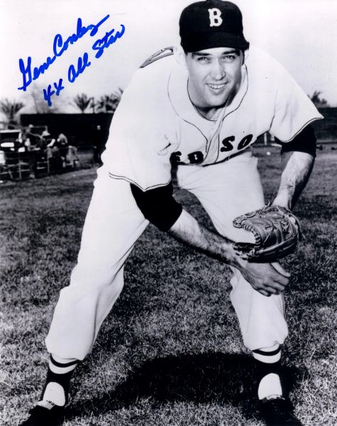 Gene Conley, autographed 8x10, Boston Red Sox, 4x All Star inscription