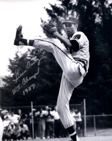 Gene Conley, autographed 8x10, Milwaukee Braves, WS Champs 1957 inscription