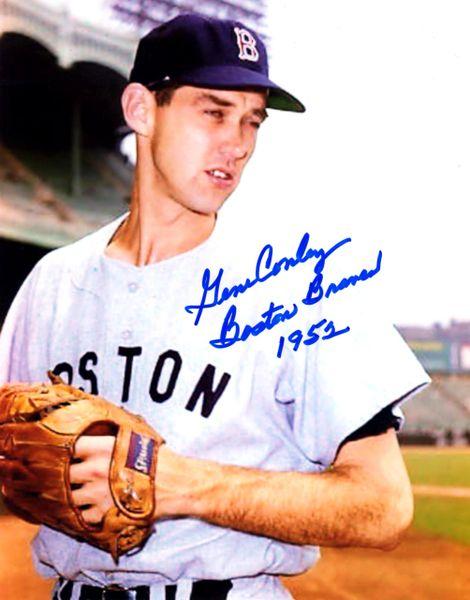 Gene Conley, autographed 8x10, Boston Braves, Boston Braves 1952 inscription