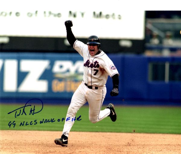 Todd Pratt, autographed 8x10, New York Mets, 99' NLDS Walk Off HR inscription