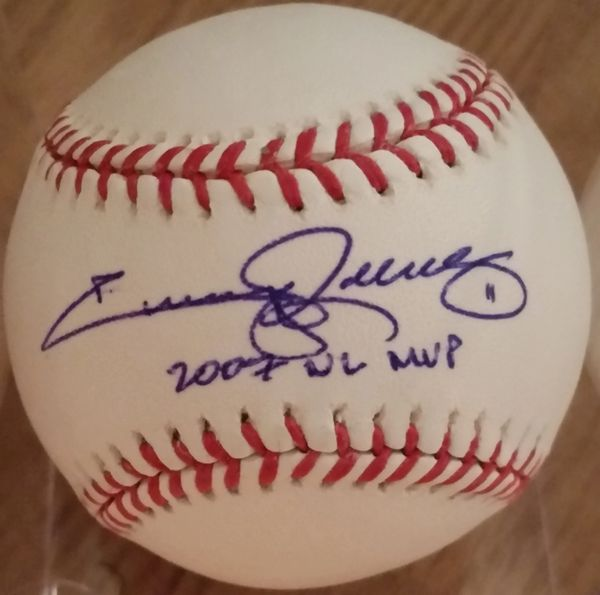 Jimmy Rollins, autographed MLB baseball, Philadelphia Phillies, with 2007 NL MVP inscription