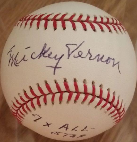 Mickey Vernon, autographed MLB baseball, Washington Senators, 7x All Star inscription