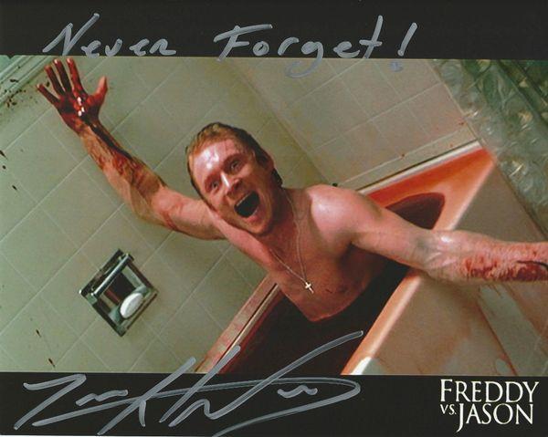 Zack Ward autograph 8x10, Freddy vs Jason, scary inscription!