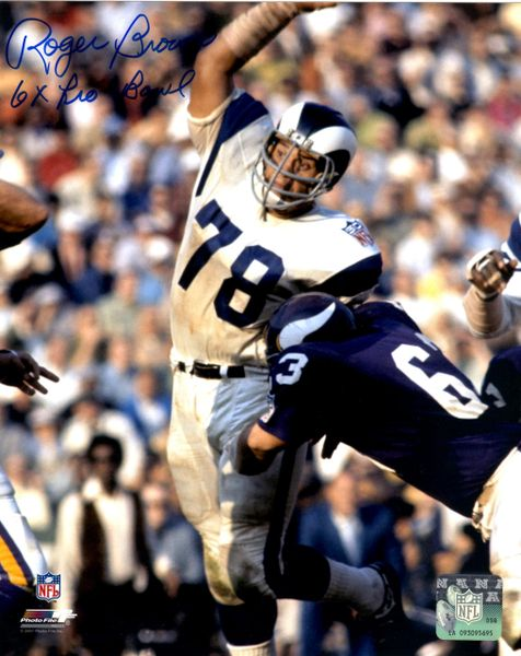 Roger Brown autograph 8x10, Los Angeles Rams with 6x Pro Bowl inscription