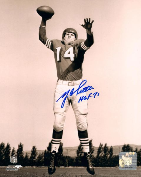Y.A. Tittle autograph 8x10, New York Giants, HOF 71