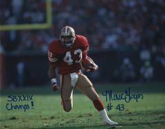 Marc Logan autograph 8x10, San Francisco 49ers, SB XXIX Champs inscription