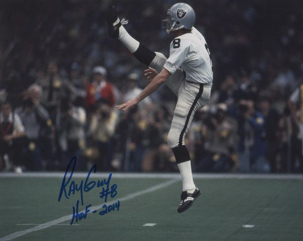 Ray Guy autographed 8x10, Oakland Raiders inscription HOF