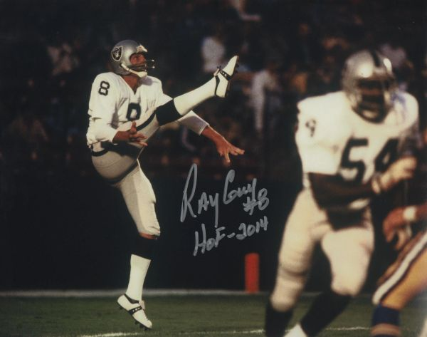 Ray Guy autograph 8x10, Oakland Raiders inscription HOF 2014