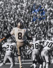 Ray Guy autographed 8x10, Oakland Raiders inscription HOF 2014 spotlight