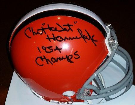 Chet Hanulak autograph Cleveland Browns mini, with 1954 Champs inscription