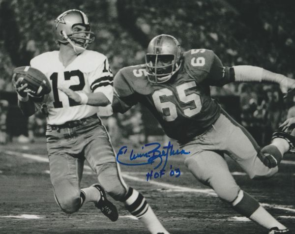 Elvin Bethea autograph 8x10, Houston Oilers vs Cowboys inscription: HOF