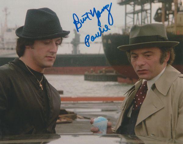 Burt Young autograph 8x10 with snow cone, Inscription: Paulie