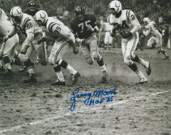 Lenny Moore autograph 8x10, Baltimore Colts, Inscription: HOF 75