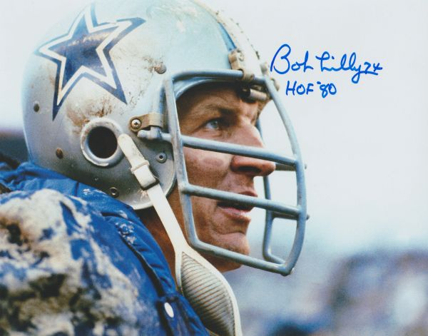 Bob Lilly autograph 8x10, Dallas Cowboys, Inscription: HOF 80