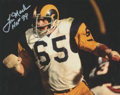 Tom Mack autograph 8x10, Los Angeles Rams, Inscription: HOF 99