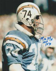 Ron Mix autograph 8x10, San Diego Chargers, Inscription: HOF 1979