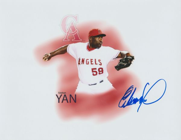 Esteban Yan autograph 8x10, Los Angeles Angels