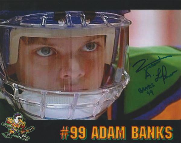 Vincent Larusso autograph 8x10; Banks 99, Mighty Ducks