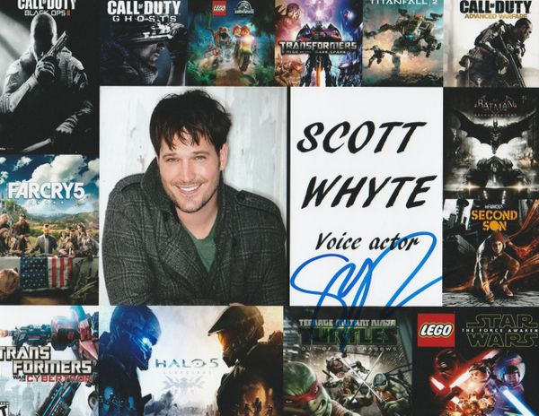 Scott Whyte autograph 8x10, voice actor collage of video games