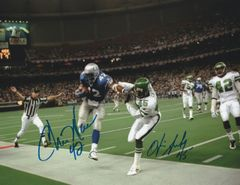 Otis Smith and Chris Warren dual autograph 8x10, Seahawks and Jets