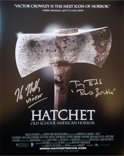 Hatchet 11x14 photo signed by Kane Hodder and Tony Todd, both with character name