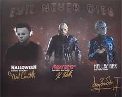 Nick Castle, Kane Hodder, Doug Bradley signed 16x20 custom photo (TPC Exclusive photo)