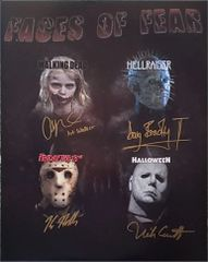 Addy Miller, Doug Bradley, Kane Hodder and Nick Castle signed 16x20 custom photo, TPC Exclusive photo