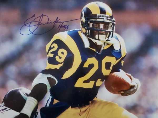 Eric Dickerson autograph 16x20, Los Angeles Rams, HOF inscription