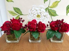 SET OF 3 RED ROSE & BERRIES MOSS LINED GLASS CUBE FLOWER ARRANGEMENTS