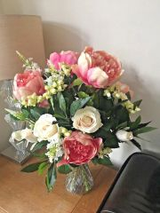 LARGE PEONY , ROSE & BAY FOLIAGE VASE ARRANGEMENT IN FAUX WATER