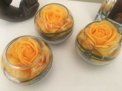 SET OF 2 LUXURY LARGE FULL BLOOM ROSE & GRASS HEAVY WEIGHT GLASS BOWL ARRANGEMENTS