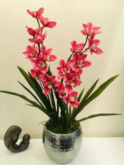 MAJESTIC EXTRA LARGE PINK DOUBLE STEM REAL TOUCH CYMBIDIUM ORCHID & LEAVES IN SILVER PLANTER