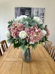 EXTRA LARGE DELUXE PINEAPPLE VASE CENTREPIECE HYDRANGEAS , ROSES , FROSTED EUCALYPTUS & LAMBS EAR FOLIAGE FLOWERS IN FAUX WATER